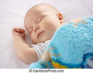 漂亮, 睡觉, 床, 孩子