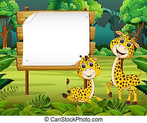 漂亮, 空間, 木制, 自然, 長頸鹿, 板, 空白, 嬰孩, 看法