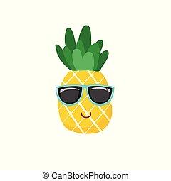 漂亮, 符號, 插圖, 矢量, 菠蘿, 圖象