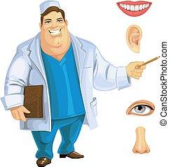 漂亮, 肥胖, 醫生, 顯示, 上, 分開, the, 臉