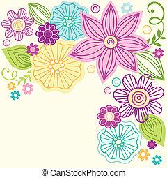 漂亮, 花, 矢量, 心不在焉地亂寫亂畫