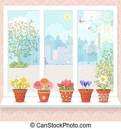 漂亮, 花, 种植, 在中, 陶瓷, 罐, 在上, a, 窗台, 为, 你, de