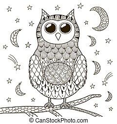 漂亮, 著色, 貓頭鷹, 夜晚, 書, zentangle