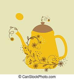 漂亮, 葡萄酒, 卡片, 由于, 茶壺, 以及, 植物, 分支
