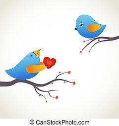 漂亮, 藍色, 鳥, 上, the, 愛, 日期