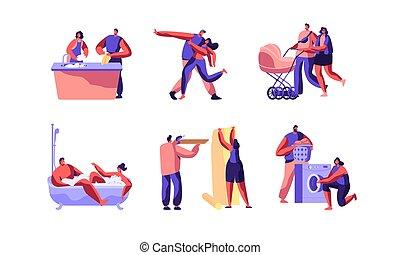 漂亮, 走, 概念, 家庭, 人们, 形象, outdoor., 性格, 隔离, 天, 背景。, 白色, 家庭作业, 开心, 套间, 跳舞, 描述, 卡通漫画, set., 妻子, 一起, 矢量, 做, 丈夫