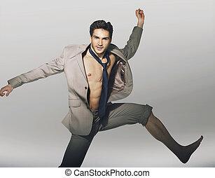 漂亮, 跳躍, 人, 由于, 有趣, 領帶