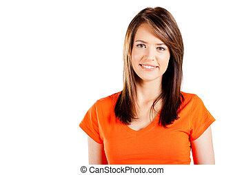 漂亮, 青少年的 女孩, 半 長度 畫像, 在懷特上
