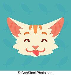 漂亮, 顽皮, 闲谈, 蓝色, 风格, communication., 背景。, 矢量, 红的怀特, 显示, 套间, 舌头, smiley, 小猫, 条纹, 描述, 情绪, 卡通漫画, emoji., 猫, emotion., head., icon.
