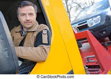 漂亮, 駕駛員, 近, 大, 現代, 卡車