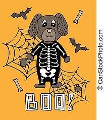 漂亮, 骨骼, 字母, 海報, halloween., 狗, suit.