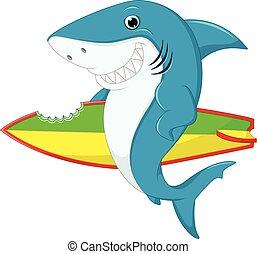 漂亮, 鯊魚, 衝浪, 卡通
