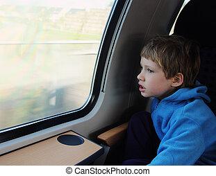 漂亮, 6, 歲, 男孩, 看穿, the, 窗口