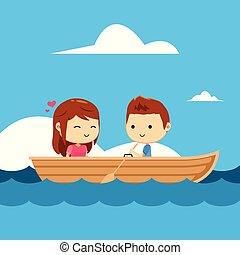 漂亮, boat., 夫妇, 描述, 矢量, 开心