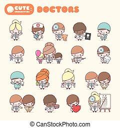 漂亮, chibi, kawaii, 字符, 職業, set:, doctors.
