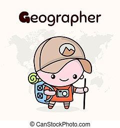 漂亮, chibi, kawaii, characters., 字母表, professions., 信 g, -,...