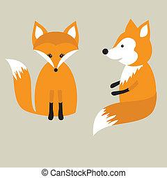 漂亮, love., 狐狸, 二, 狐狸, 夫婦。, 矢量, retro, 卡片
