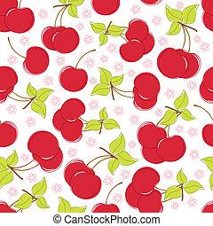 漂亮, seamless, 背景, 櫻桃