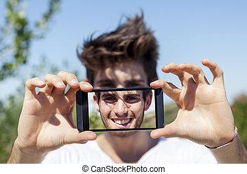 漂亮, selfie, 年輕, 電話, 拿, 聰明, 成人