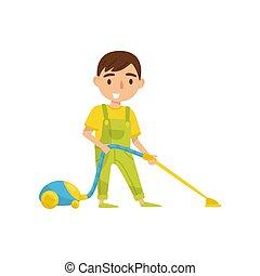 漂亮, vaccuum, 孩子, 清洁工, 男孩, 每日, 矢量, 描述, 背景, 日常事务, 活动, 白色