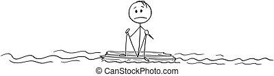 漂流者, モデル, ∥あるいは∥, 海洋, 中央, 木, 単独で, 小片, 漫画, 人