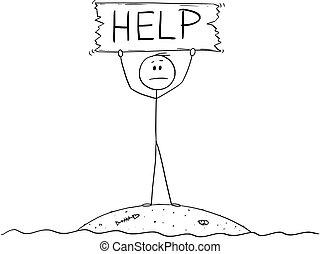 漂流者, 助け, 島, 印, 保有物, 小さい, 漫画, 人