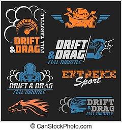 漂流, 拖競賽, 協調, 汽車競賽, -, 集合, ......的, 運動, 汽車, 標識語