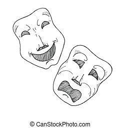 演劇, スケッチ, 悲劇, comedy., masks.