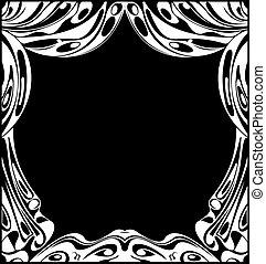 演劇, illustration., ベクトル, 黒, 白, curtains.