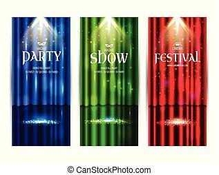 演劇, illustration., ライト, floor., scene., 色, ベクトル, 背景, カーテン