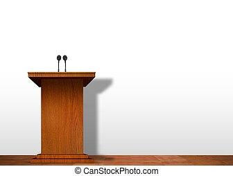 演壇, ステージ上で, 上に, 白