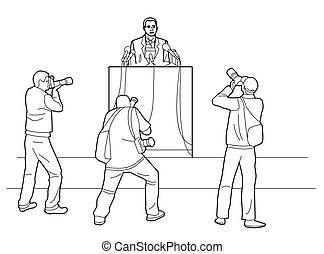 演壇, microphones., pictures., 立つ, カメラマン, public., 隔離された, イラスト, バックグラウンド。, の後ろ, ベクトル, スピーカー, 取得, 演説者, レポート, 黒, 白, 作り