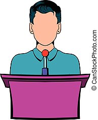 演説者, トリビューン, 漫画, 話すこと, アイコン