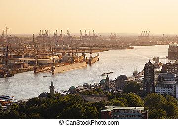 漢堡, 傍晚, 港口