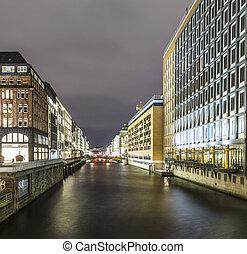 漢堡, 德國, alsterfleet, 夜晚