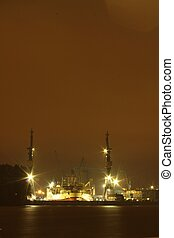 漢堡, 港口, 夜晚