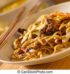 漢語, 牛肉, mein, 食物, lo, -