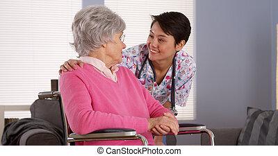 漢語, 護士, 談話, 由于, 年長者, 病人
