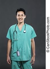 漢語, 醫生, 穿, 綠色, scrubs.