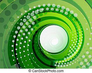 漩渦, 摘要, 矢量, 綠色, 背景