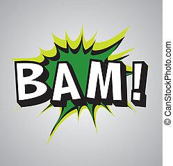 漫画本, 爆発, 泡, -, bam