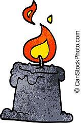 漫画, いたずら書き, 火をつけられたろうそく