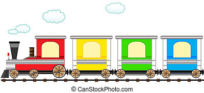 漫画, かわいい, カラフルである, 列車, 中に, 柵