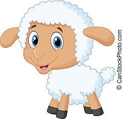 漫画, かわいい, 子羊