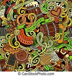 漫画, かわいい, doodles, 手, 引かれる, octoberfest, seamless, パターン