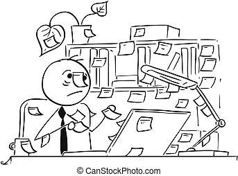 漫画, どこでも, イラスト, オフィス, のまわり, スティック, メモ, 労働者