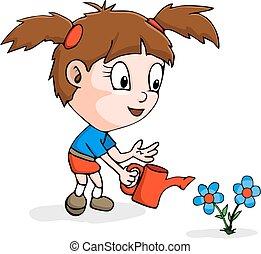 漫画, の, 女の子, 園芸