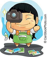 漫画, の, 女の子, 愛, 写真撮影