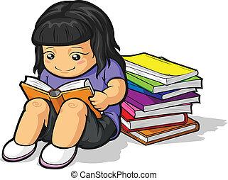 漫画, の, 女子学生, 勉強, &