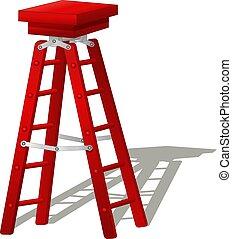 漫画, はしご, 面白い, 赤